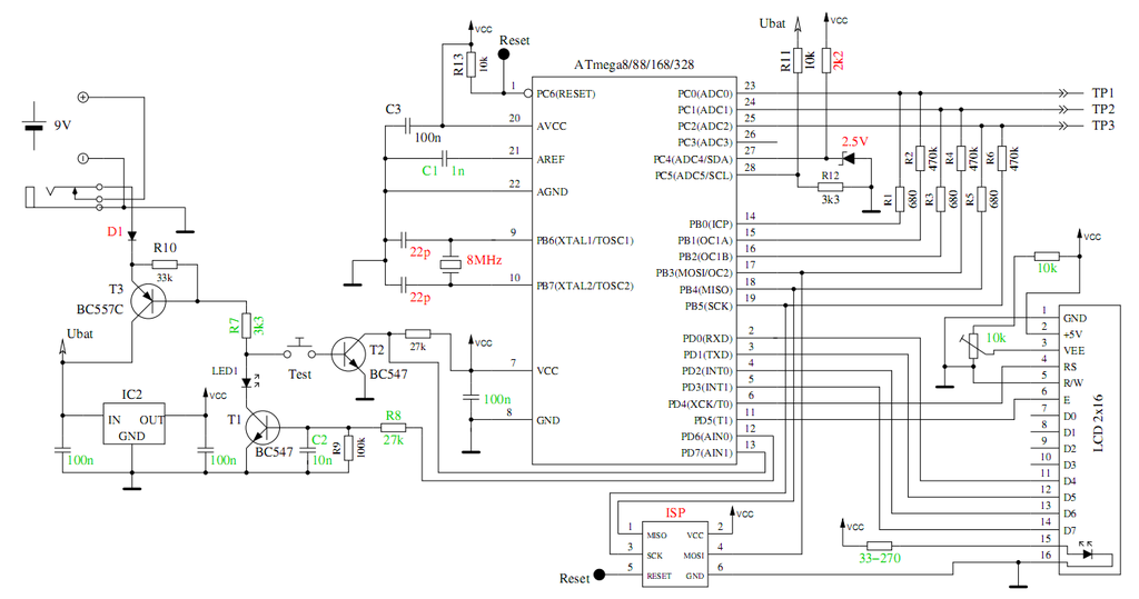 Atmega328 тестер схема