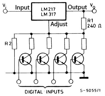 цифровое управление напряжением на LM317T