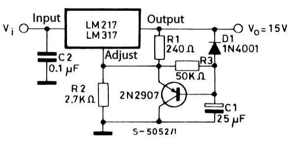 LM317T схема плавного включения