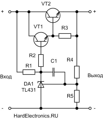 мощный компенсационный стабилизатор на TL431 схема включения
